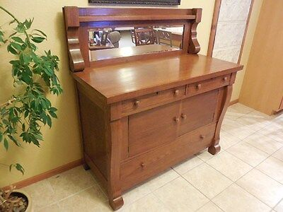 Antique Solid Oak Buffet with Drawers, Doors & Beveled Mirror. Wisconsin
