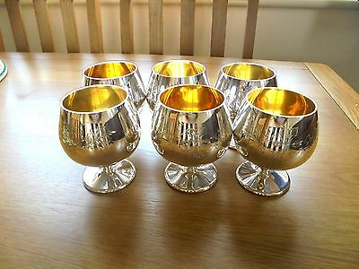 Beautiful Set of 6 Large Silver Plated Wine Goblets