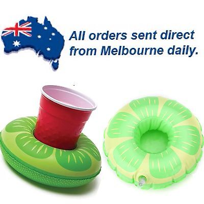 Lime Ring Floating Inflatable Drink/Can Holder Pool Party Beach CLEARANCE