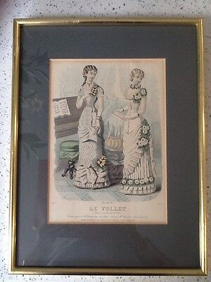 Two French 19Th Century Fashion Prints. Le Follet Framed
