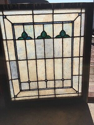 Sg 1358 Antique Opalescent Stainglass Landing Window 28.5 W By 30 2H