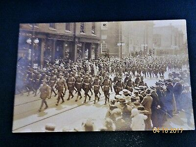 Original Photo On Post Card Of Wwi Marching Soldiers In New London, Ct