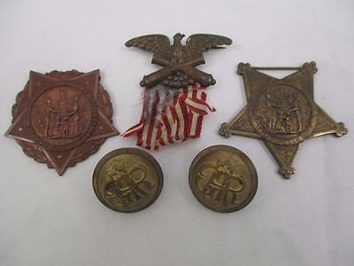 G.A.R.  Grand Army of the Republic Medals & Brass Buttons, Original,  QB9