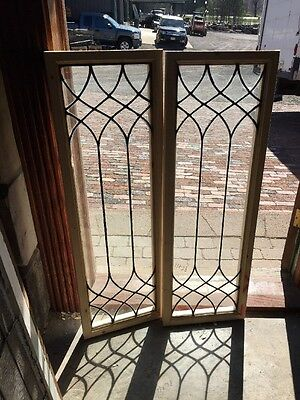 """Sg 1366 2Available Priced Each Antique Leaded Glass Window 13.25 X 40 1/8"""""""