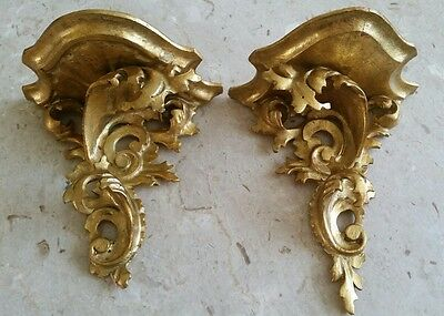Two~ Carved  Wood Italian Florentine Rococo Style Gilt Sconces~Shelves~Brackets