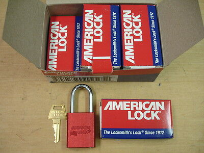 LOT OF 6 New American Lock 1106 Red Padlocks--Keyed Alike