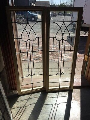 "Sg 1371 Matched Pair Antique Leaded Glass Windows 14"" X 38"" Vertical"