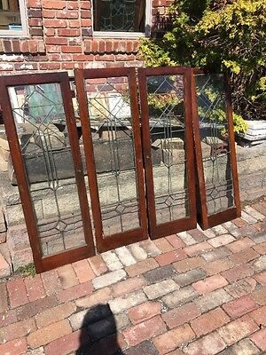 Sg 1372 4 Matching Antique Leaded Glass Cabinet Doors 16 X 48