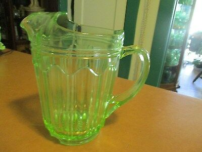Green Depression Glass Colonial Knife & Fork Water Pitcher