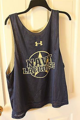 Navy Lacrosse reversible sleeveless mesh jersey size adult L Under armour- EUC