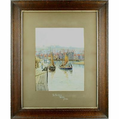 Original Signed Framed Antique Watercolour Painting Fish Quay Whitby Berkeley