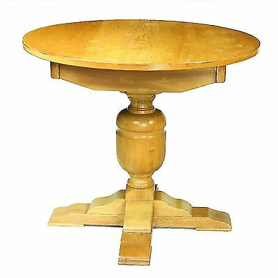 Mill Collection Carved Solid Light Oak Circular Refectory Dining Table Seats 4 x