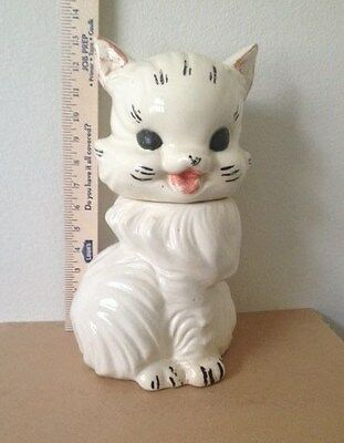 """Antique, Cookie Jar, American Bisque, """"Fluffy"""" the Cat, White, post-1940, USA"""