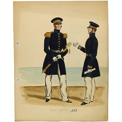 Port Captain c1830 Historical Military Naval Maritime Uniform Sketch 20 x 25 cm