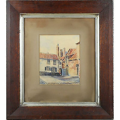 Original Victorian Antique Watercolour Painting Whitby Roofline Signed Berkeley