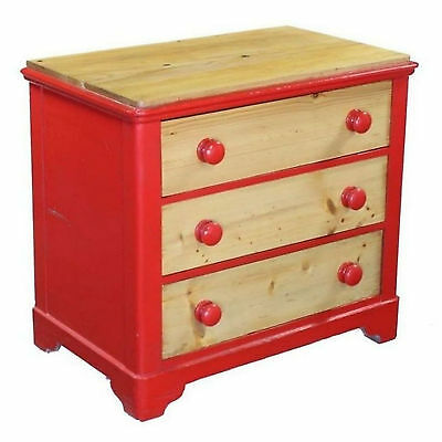 Upcycled Dwarf 3 Drawer Bedside Chest of Drawers Red Painted Country Pine