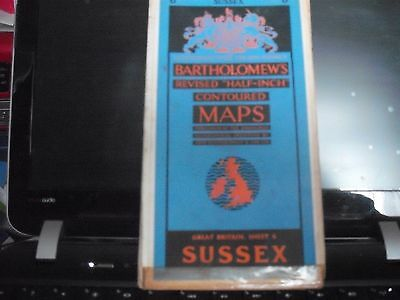 Bartholomew's Revised Half Inch Contoured Cloth Map Of Sussex 1961