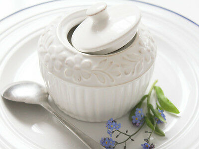 Antique Vintage Shabby Chic White French Daisy Sugar Bowl Lid Pot Christmas