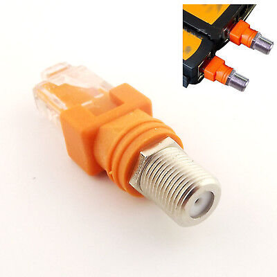 F Female to RJ45 Male Coaxial Coax Barrel Coupler Adapter RJ45 to RF Connector