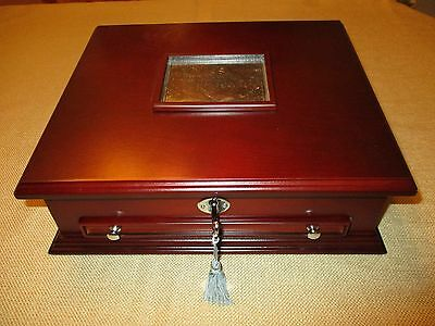 Locking Cherry Wood Display & Storage Box For Peace Dollar Gold Silver