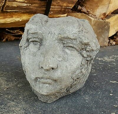 Unique Antique Rustic Concrete Bust Planter - Head, face, peaceful, garden decor