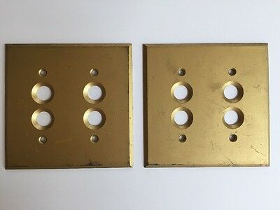 Vintage Perkins Solid Brass 4-Hole Push Button Switch Plates Covers - Lot of Two