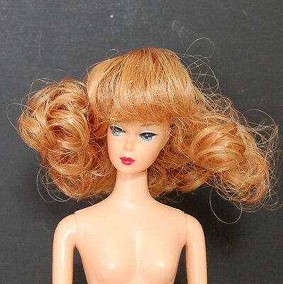 "Doll Wig 4 1/2"" Mini Ginny Curls Bangs Strawberry Blonde Fits Barbie Kish BJD"