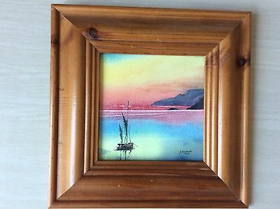 Small Water Colour Painting In Pine Frame
