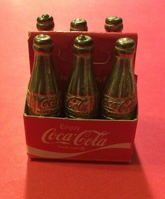 Coca Cola Bottles Brass Mini 6 Pack It's The Real Thing Vintage Miniature Coke