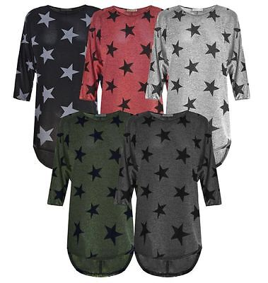 Women Fine Knitted Baggy Batwing Stars Print LagenlookTunic Top Plus Size 8-26