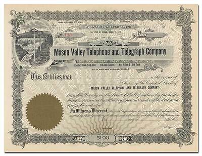 Mason Valley Telephone and Telegraph Company Stock Certificate