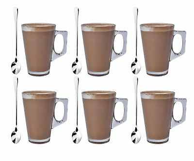 Pack of 6 Latte Glass & Spoons Tea Coffee Café Cappuccino Hot Drinking Cup 240ml