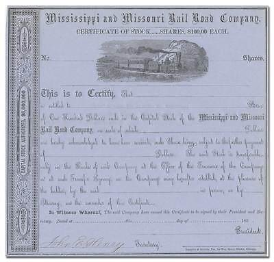 Mississippi and Missouri Rail Road Company Stock Certificate (1850's)