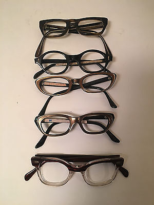 Lot of 5 Vintage Cat Eye Glasses Frames  Romco Foremost more FREE SHIPPING B