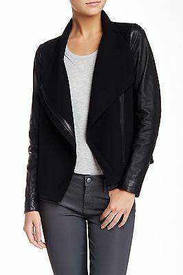 VINCE Women's Leather Sleeves Asymmetrical Wool Jacket: Size L: Black