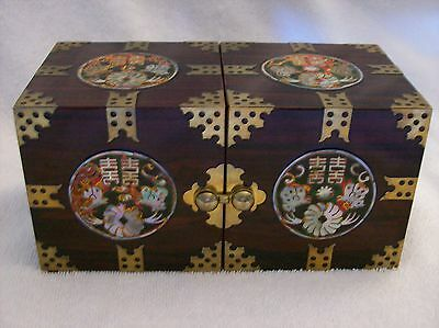 Lacquer inlaid mother of pearl peacock wood  trinket jewelry jewel box