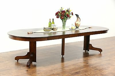 Arts & Crafts Mission Oak Antique Craftsman Dining Table, 6 Leaves, Extends 10'