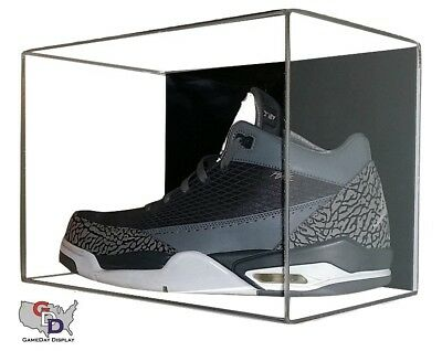Acrylic Wall Mount Single Shoe Display Case Size 12 or Under UV Protect GameDay
