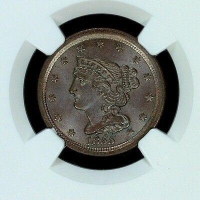 1855 Half Cent C-1, NGC MS66BN. EXCEPTIONAL EYE APPEAL (1233.65.001)