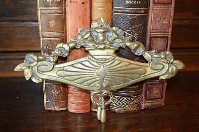Antique French Bronze Ormolu Art Deco Floral Tassel Design Pediment