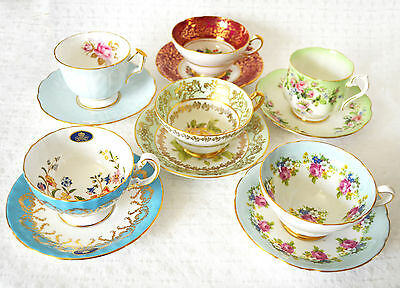 Aynsley, Royal Albert, Stanley Tea Cups with Matching Saucers. Vintage BoneChina
