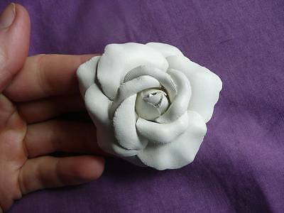 strong white rose hair clip, small fascinator / brooch
