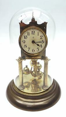 Good Antique 360 Day German Torsion Clock - Anniversary Mantel Clock Under Dome