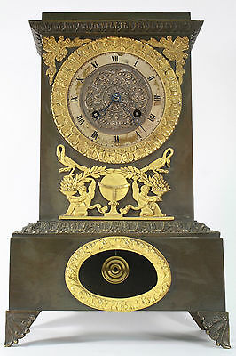 ANTIQUE FRENCH EMPIRE PERIOD PATINATED BRONZE & ORMOLU TABLE CLOCK  c.1820