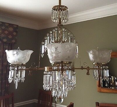 Antique Brass Crystal Asthetic Gasolier Chandelier Victorian Eastlake Converted