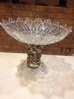 Vintage Bronze Or Brass Cut Crystal Compote Dish Centerpiece Cherub Fruit Bowl