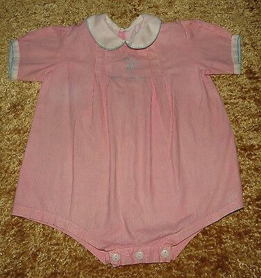 Precious Vintage Antique Embroidered Baby Romper Evc Approx 2T Red Checks