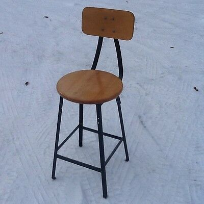 "Pollard Brothers Heavy Well Made 24"" Wood / Metal Industrial Stool - Very Nice"