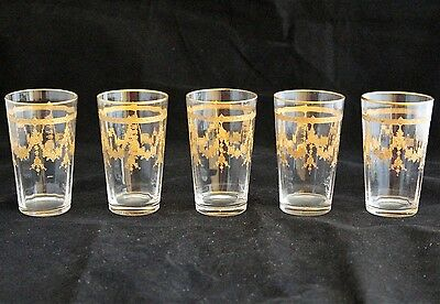 Vintage Set Of 5 Moser Style Etched Optic Glass Gold Encrusted Juice Tumblers