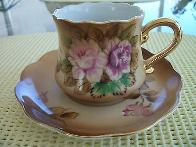 Lovely TEA CUP & SAUCER Set Tan brown w Pink Roses unknown mark Bavarian? Prussa